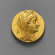 Gold oktadrachm of Ptolemy II Philadelphos
