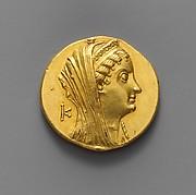 Gold oktadrachm of Ptolemy II Philadelphos