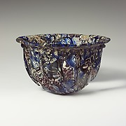 Ribbed mosaic glass bowl