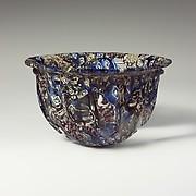 Ribbed mosaic glass bowl
