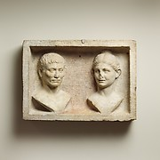 Marble grave relief with two portrait busts