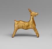Gilt terracotta statuette of a goat