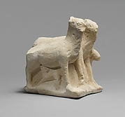 Limestone statuette of three animals