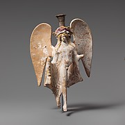 Terracotta lekythos in the form of a flying Eros