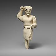 Limestone statuette of Herakles brandishing a club