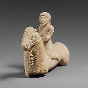 Limestone horse with a rider