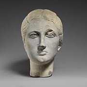 Limestone funerary bust of a woman