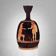 Terracotta squat lekythos (oil flask)