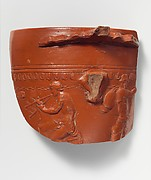 Terracotta sherd from an Arretine cup with satyrs