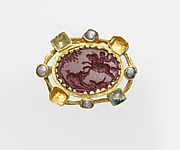 Jasper intaglio in a gold mount set with pearls and glass