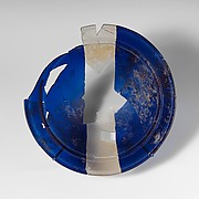 Glass bowl in blue and colorless bands