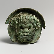 Silvered bronze roundel with satyr head (one of a pair)