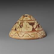 Terracotta conical lekythos (vase for oil)