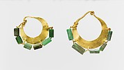 Gold and variscite earring (one of a pair)