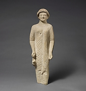 Limestone statuette of a beardless male votary with a fillet