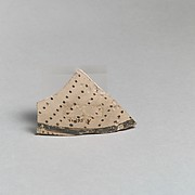 Terracotta vessel fragment with rows of dots and band