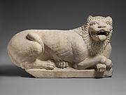 Limestone recumbant lion