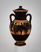 Terracotta amphora (jar) with lid