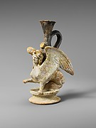 Terracotta lekythos (oil flask) in the form of a sphinx