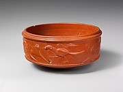 Terracotta dish with barbotine decoration