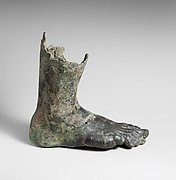 Bronze right foot and lower leg from a colossal statue