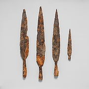 Four iron spearheads