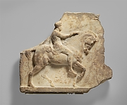 Marble votive relief of a horseman