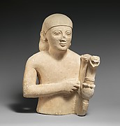 Limestone bust of a lyre-player