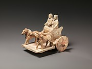 Limestone model of chariot drawn by two horses
