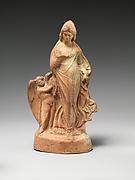 Terracotta statuette of dancing Aphrodite with Eros