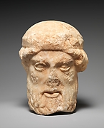 Marble herm head of a bearded deity