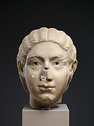 Marble portrait head of a woman
