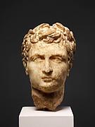 Marble head of a man wearing a laurel wreath