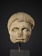 Colossal marble head of the emperor Augustus