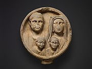 Marble funerary relief