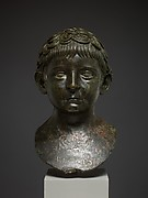 Bronze portrait bust of a young boy