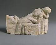 Limestone statuette of a childbirth scene