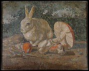 Tile mosaic with rabbit, lizard and mushroom