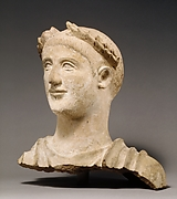 Terracotta head and shoulders of a man
