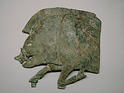 Bronze plaque in the shape of a boar