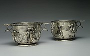 Pair of silver scyphi (cups) with relief decoration