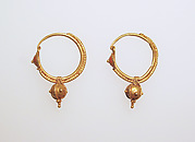 Earring with ball pendant