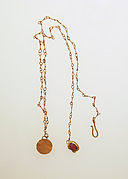 Necklace with disc and sard