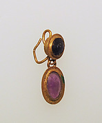 Earring-hook type with amethyst and paste settings