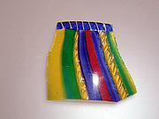 Glass striped mosaic bowl fragment