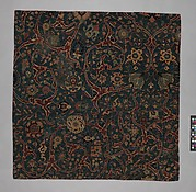 Blue-ground Carpet Fragment with Scrolling Floral Vines