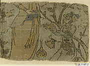 Textile Fragment Depicting Figures in a Landscape