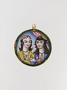 Portrait of a Couple in a Round Pendant