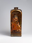 Bottle with European and Indian Figures