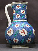 Blue-ground Ewer with Floral, Tiger-stripe and 'Cintamani' Designs